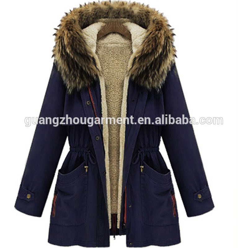 Women Thicken Fleece Faux Fur Warm Winter Coat Hoodies Parka ...