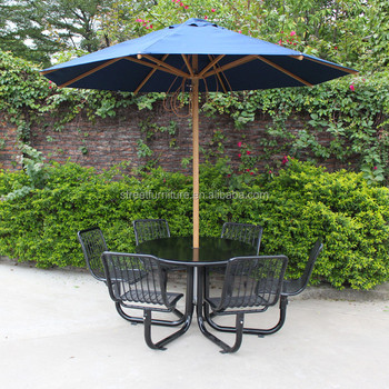 Outdoor Furniture Picnic Table With 2 7m Garden Parasol Umbrella