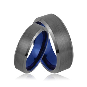 Gunmetal and Blue Tungsten Carbide Ring Blank Men's Women's Ring