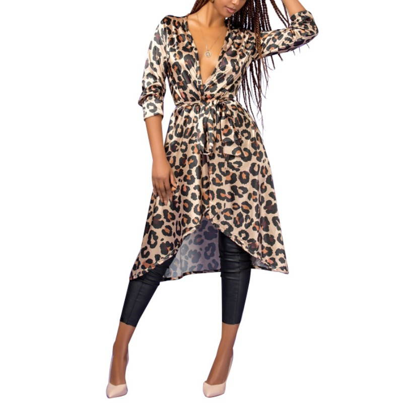 YSMARKET Vintage Leopard Print Medium Long Thin Windbreaker Celebrity Night Club Party Spring Autumn Coats Sexy V Neck Tops
