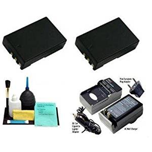 (2) EN-EL9a Rechargeable High Capacity Li-ion Batteries + Mini Battery Charger + Cleaning Kit for Nikon D5000, D3000, D60, D40x & D40 Digital Cameras