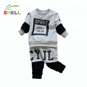 fashion new design boy o neck long sleeve t shirt with casual trousers for wholesale