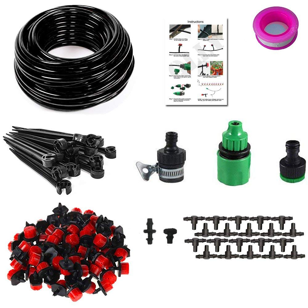 QLLY Garden Micro Irrigation System, Blank Distribution Tubing Watering Drip Kit with 65ft 1/4-inch Distribution Tubing Hose, 20 pcs Drippers, 20 pcs T Joints, Quick Connector, Support Stakes,etc-Equi