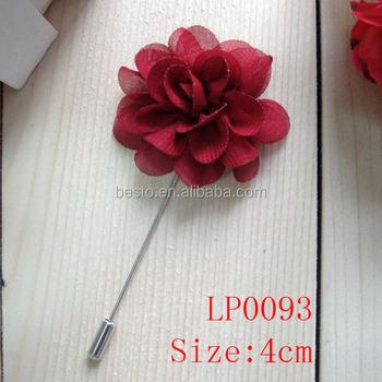 Handmade Custom Burgundy Fabric Flower Poppy Lapel Pin For Men Suit