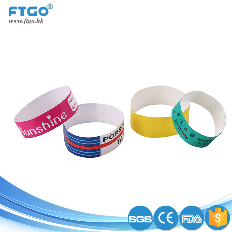 high quality custom logo waterproof one time use paper tyvek band