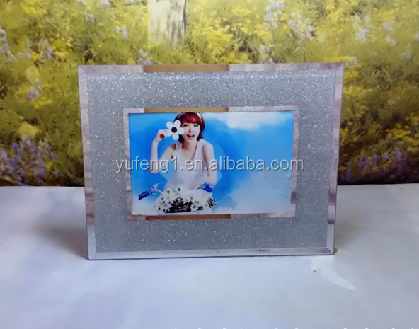 latest design popular shining silkscreen mirror glass photo frame 4x6in