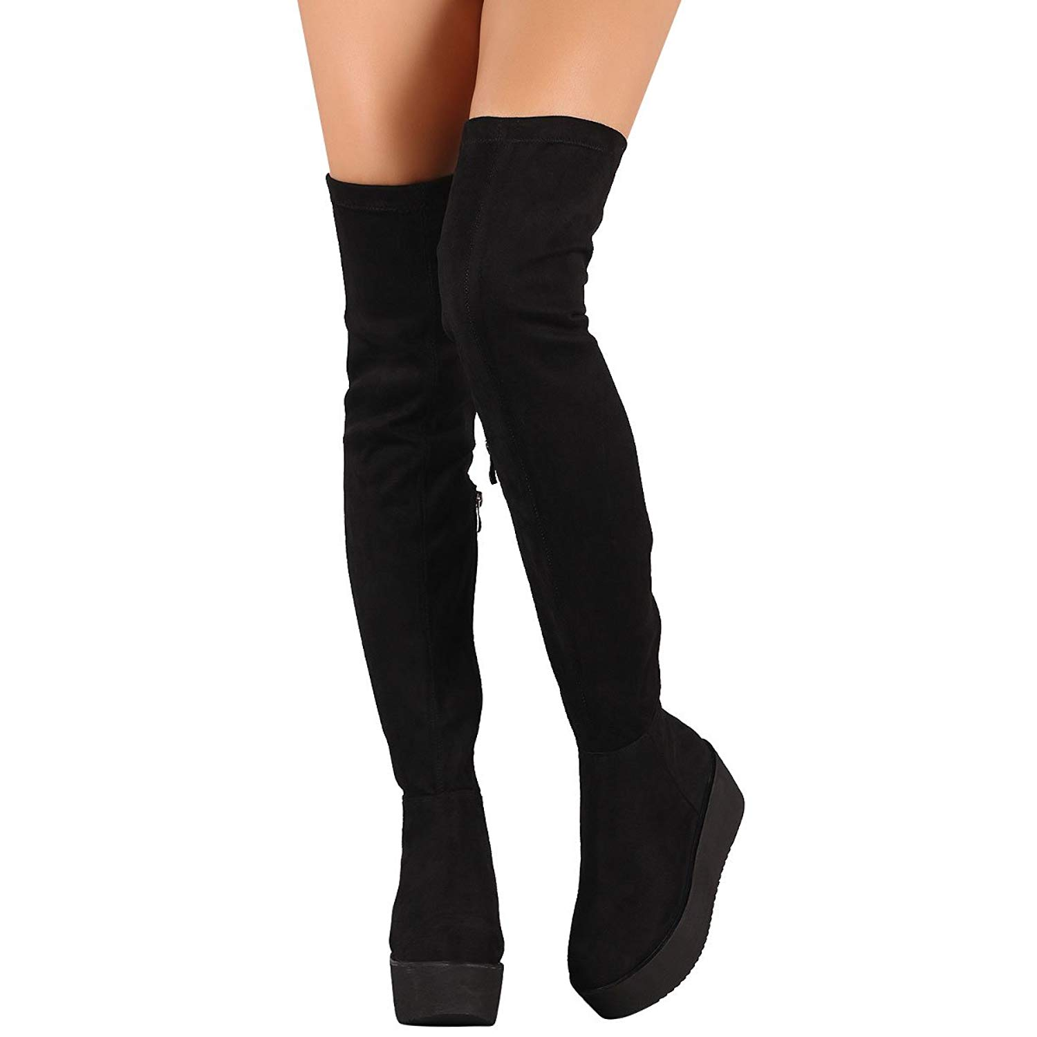 Get Quotations · Nature Breeze Womens Round Toe Platform Wedge Heel Fitted  Over The Knee Thigh High Boot 0b8c501ee
