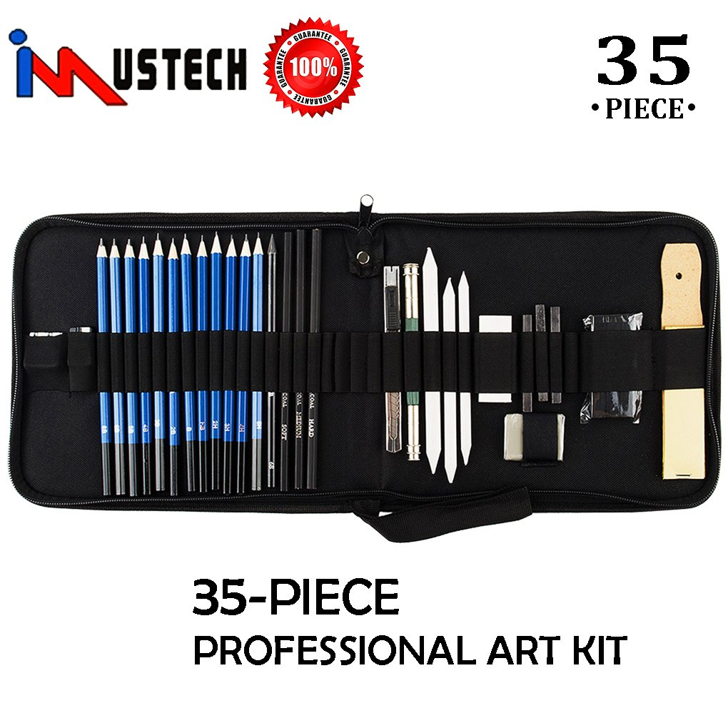 Kesoto 35 Pieces Art Supplies Drawing and Sketching Pencils Set with Graphite /& Charcoal Pencils Sticks and Tools