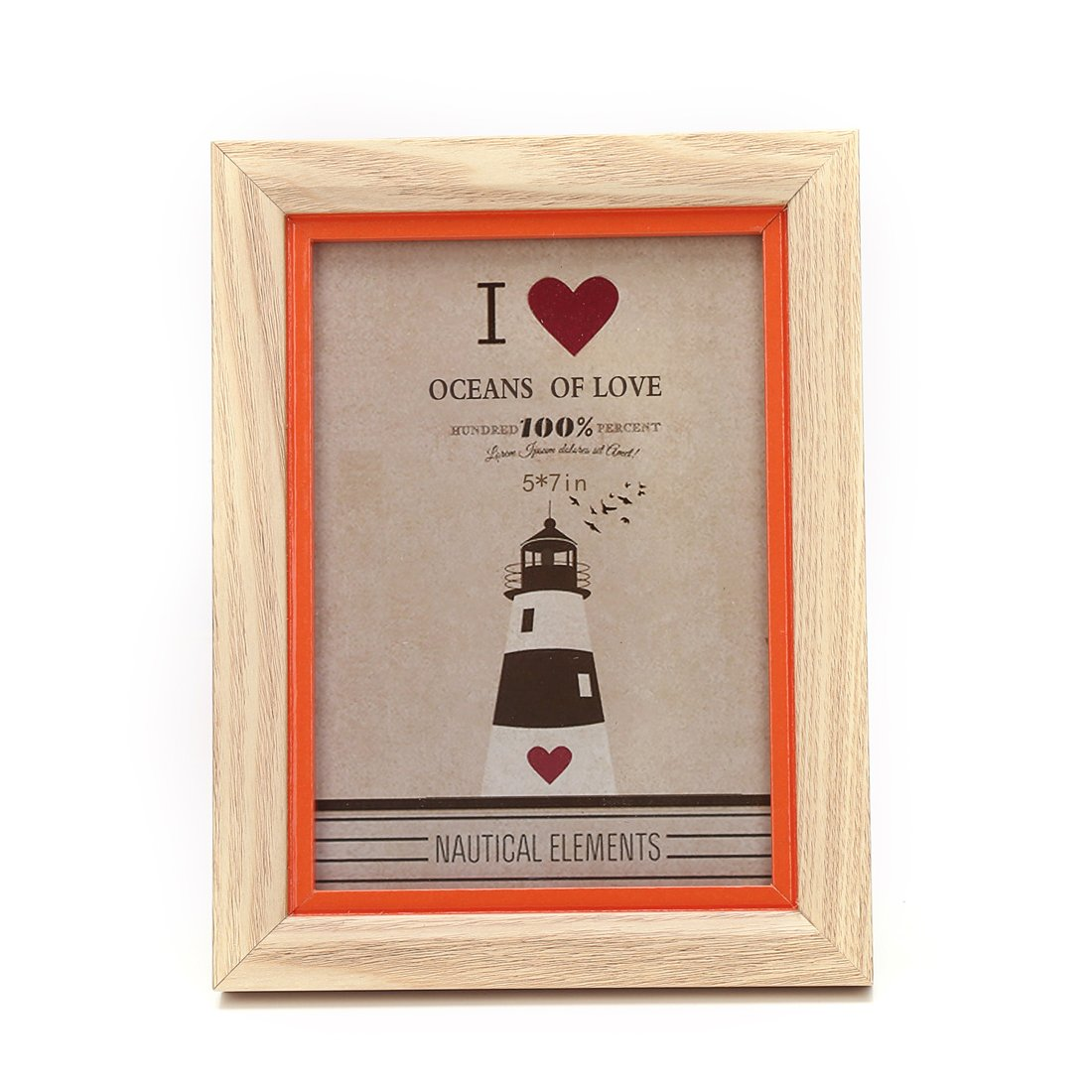 5x7-inch Color Suround Picture Frame with Glass Front (5x7, Orange)