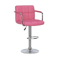 Modern Adjustable Pink Swivel Pu Leather Bar Stool With Armrest