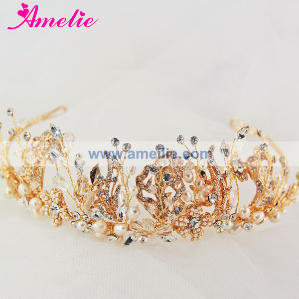 Freshwater Pearl and Gold Color Leaves Crown Wedding Hair Accessories Headband Tiaras