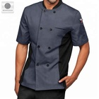 High quality custom logo grey color double breasted kitchen cooking chef wear uniforms