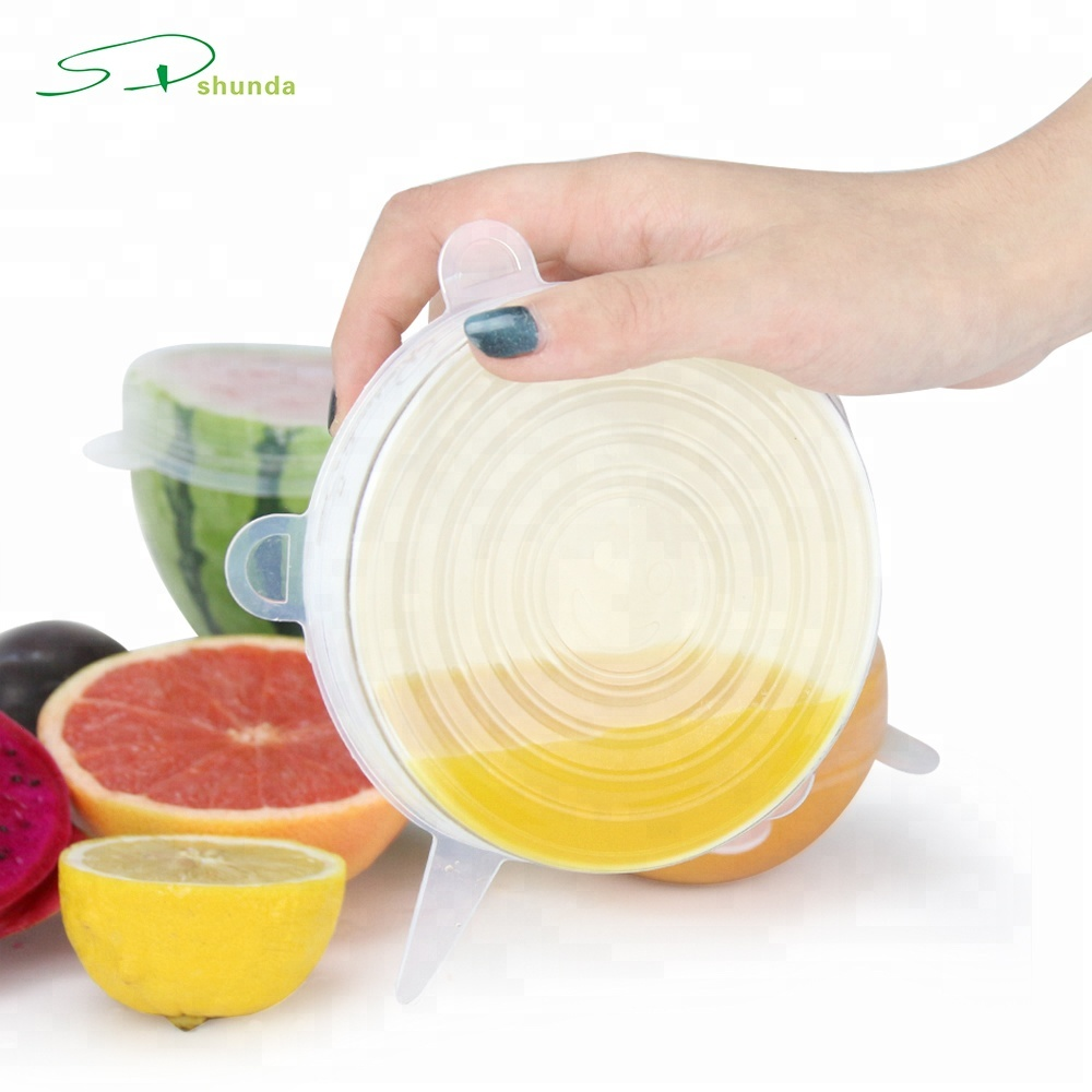 2019 Amazon Produk Baru 6 Pcs Reusable Wrap Film Fleksibel Fungsi Makanan Penutup Bungkus Silikon Stretch Lids