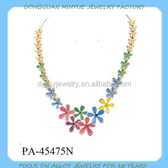 Gold plated flower pendant necklace enamel necklace for children