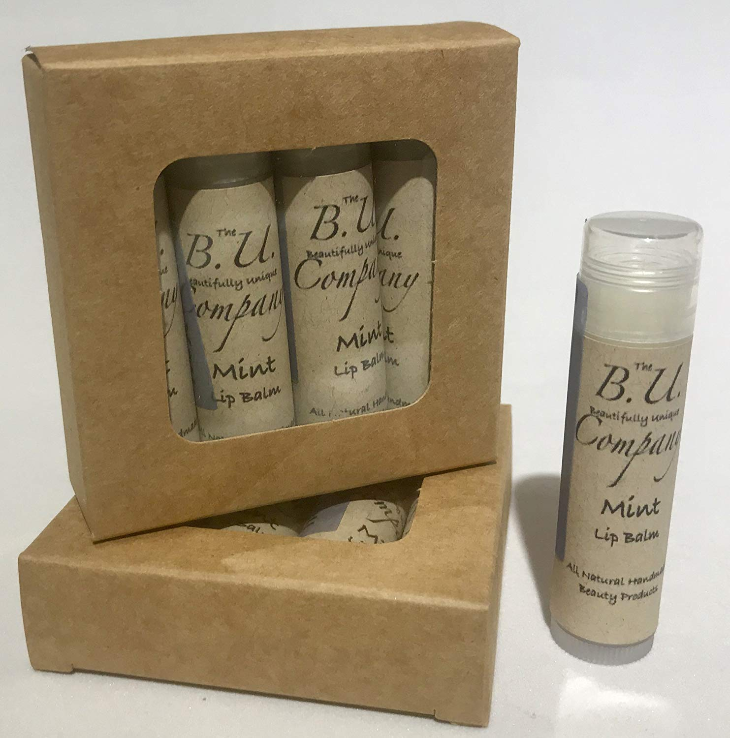 All Natural Mint Lip Balm - All Natural Handmade - BU Company - 4 pack