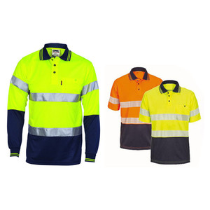 Safety fluorescent two-tone shirt 100% polyester breathable hi vis long sleeve polo shirt for men