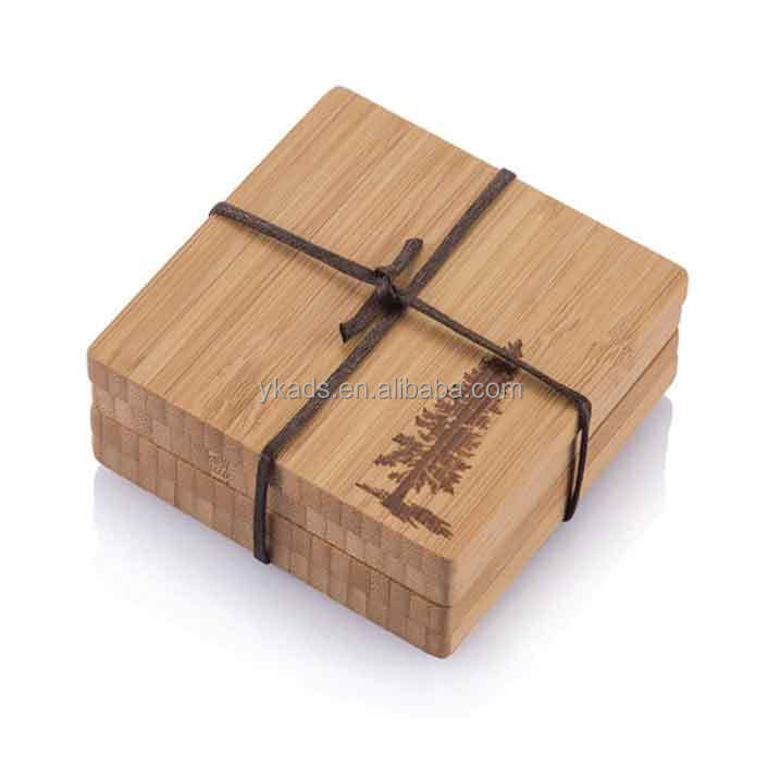 Square wood carved coasters