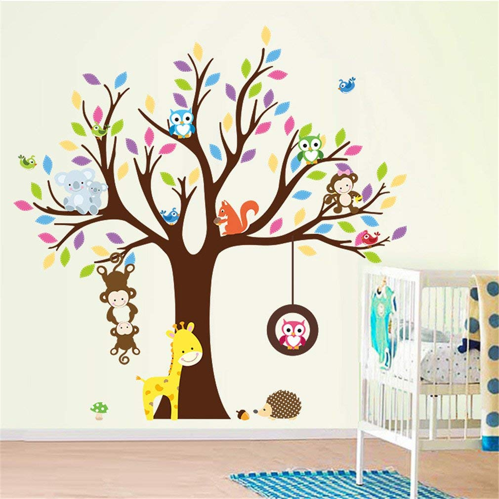 Dolland Charming Art Colorful Tree Decals with Hanging Owl, DIY Wall Decor, Cartoon Forest Animal Owl Wall Sticker, Owl Wallpaper for Kids Room, Reusable Stickers