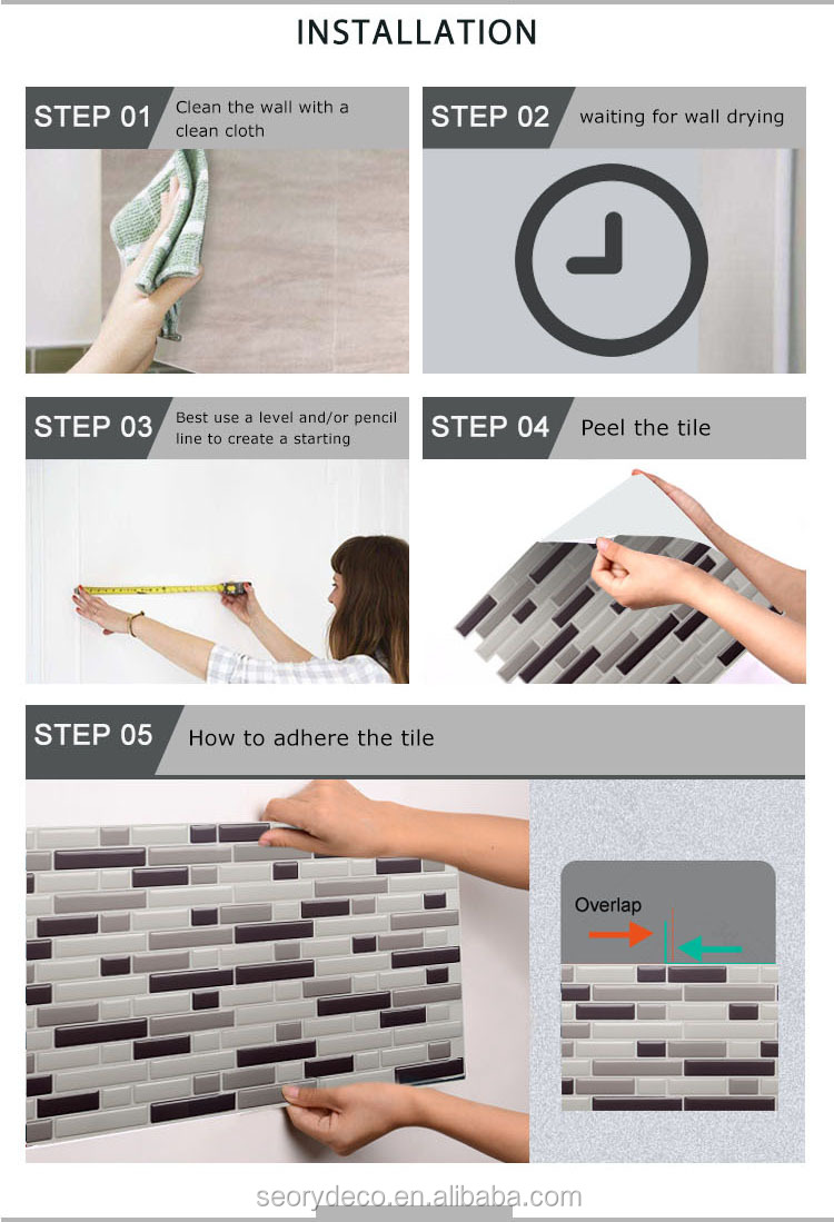 Vinyl tile pattern smart tile hexagon premium quality self-adhesive wall tile sticker