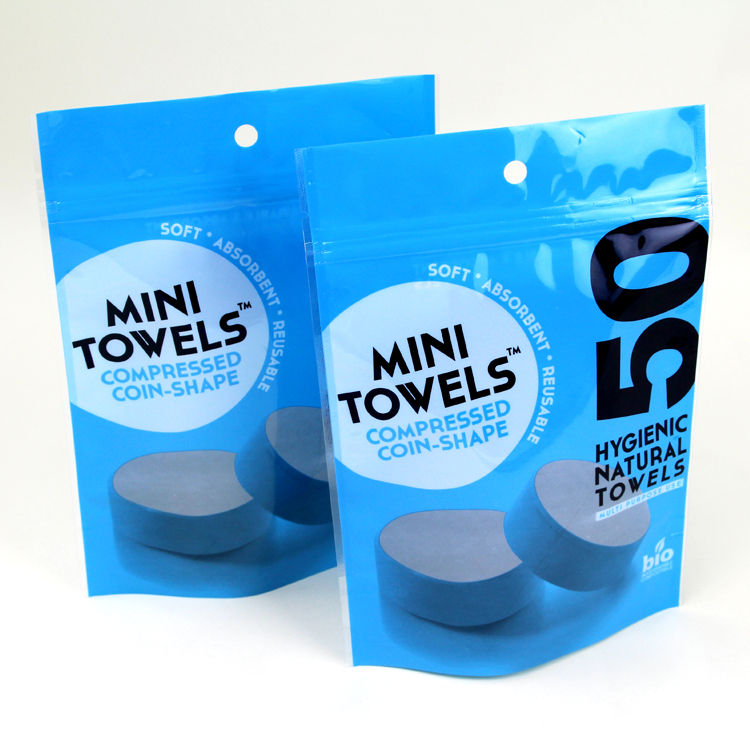 mini towels plastic zipper packaging bag with vent hole