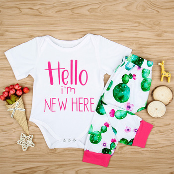0cb29e84600 Cute Newborn Baby girls cactus Clothes set 0-24M romper Tops+Long Pants 2PCs