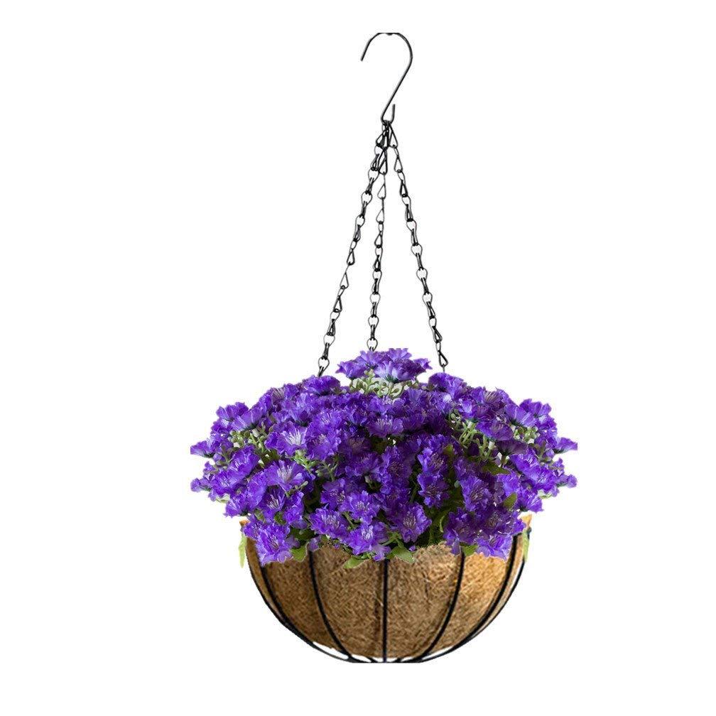 Mynse Hanging Artificial Flower Silk Chrysanthemum Basket Home Garden Outdoor Decoration Hanging Flowerpot Artificial Flower Butterfly Daisy Purple (Big Basket)