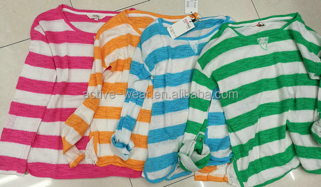 Garments Leftover Wholesale Spring Knit Long Sleeve T Shirts For Girls