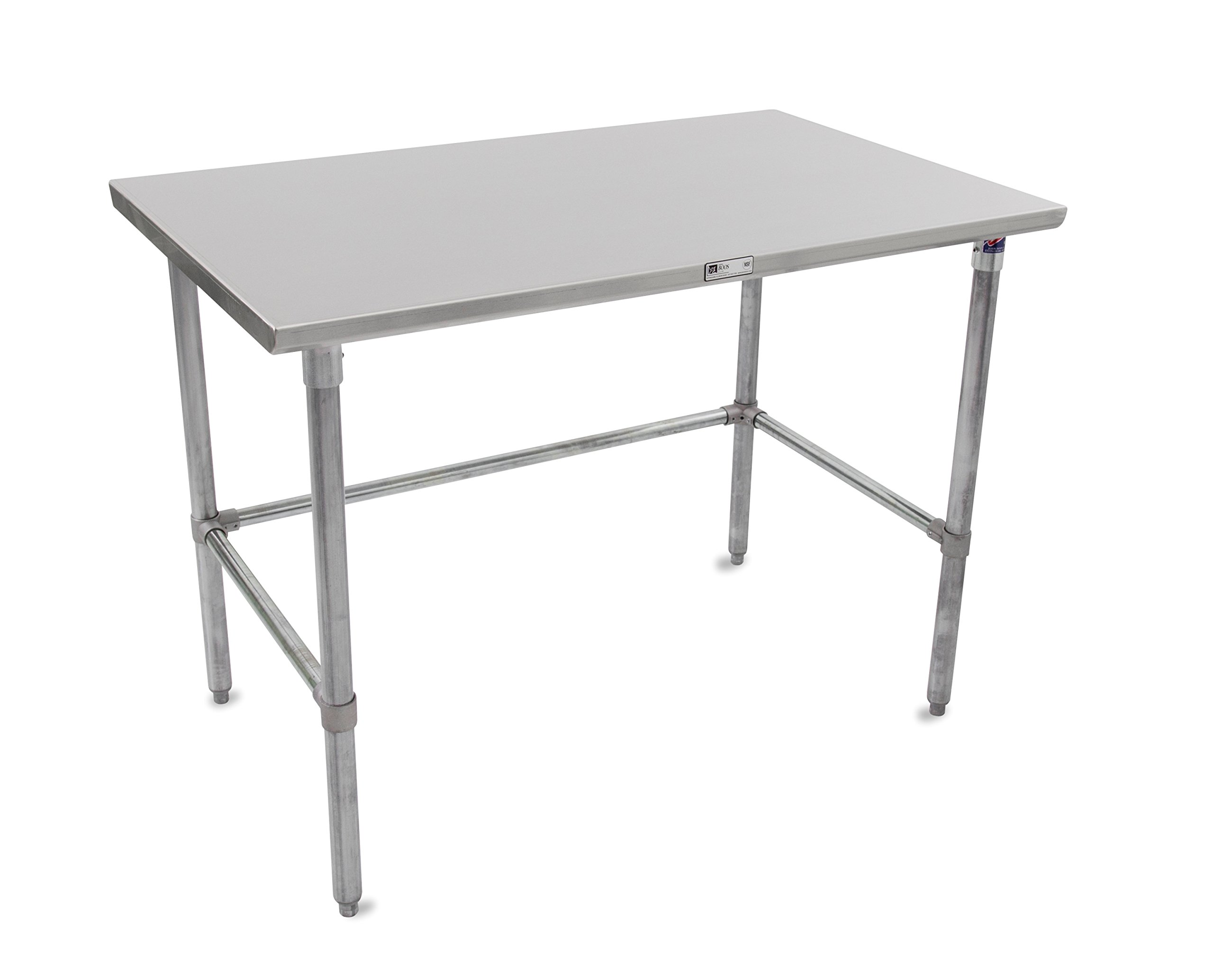 "John Boos Stallion ST6-2460GBK Stainless Steel Flat Top Work Table, Adjustable Galvanized Legs and Bracing, 60"" Length x 24"" Width"