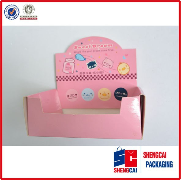 Custom cosmetic packaging paper counter display box pink color printing paper display box manufacturer