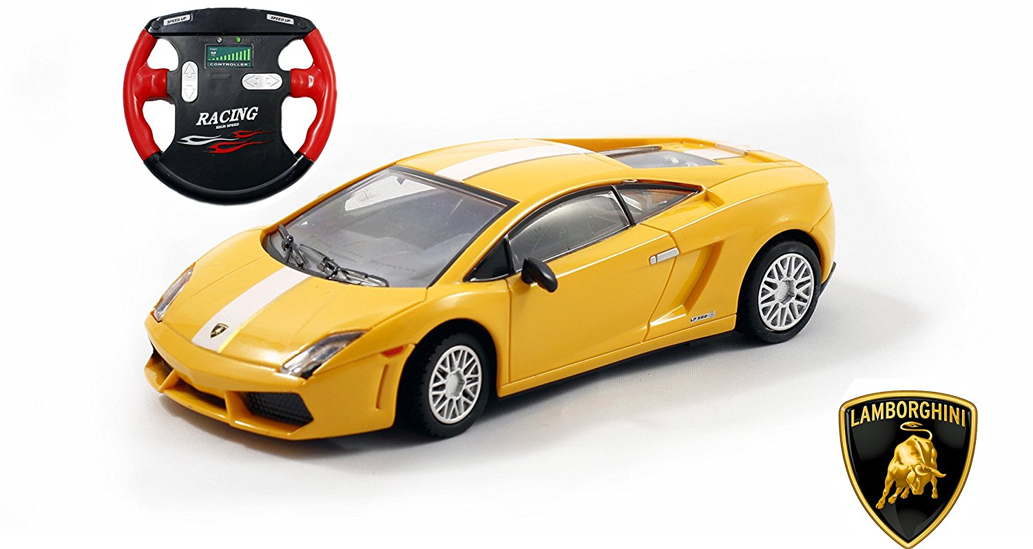 Lamborghini Gallardo LP 560-4 SV Mini Licensed RC Car - 1/43 Scale - Yellow w/White Stripes