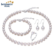 925 sterling silver AAA grade natural fresh water wedding bridal pearl set jewelry