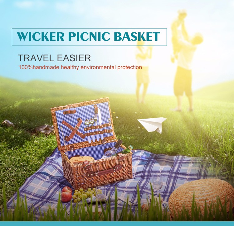 2 Persons Wicker Picnic Basket with 2 Wine Beverage Bottles