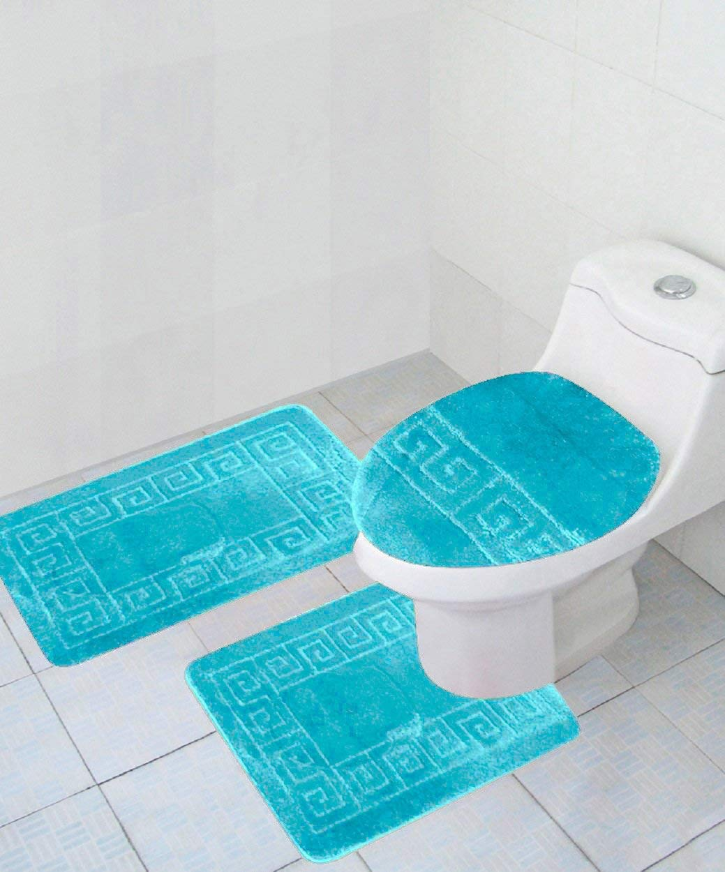 Get Quotations Home Must Haves 3 Piece Bath Rug Set Turquoise Pattern Mat For Bathroom Decor Includes