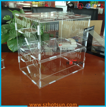 High quality clear acrylic hamster cage 2 tiers acrylic for Plastic bin guinea pig cage