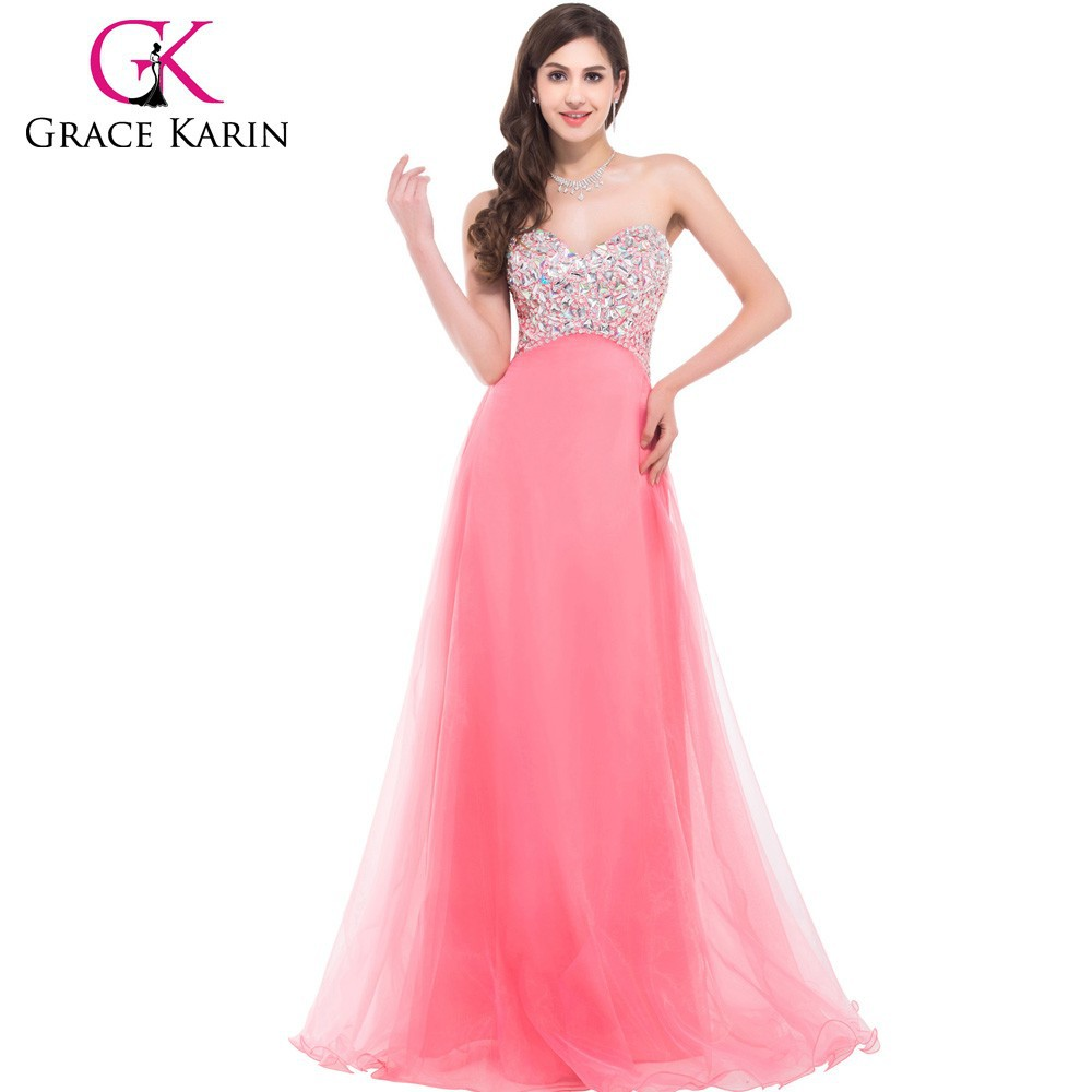 Grace Karin Strapless Floor Length Cheap Long Puffy Beaded Pink Prom ...