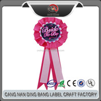 Wholesale Promotion Cheap Hardmake Type Party Use Custom Design Double Ribbon Type Rosette Button Badge