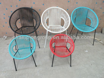Mexa Children Chair With Colored Pe Rattan And Solid Steel Frame Acapulco Mamasita Stackable Round Colorful