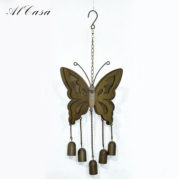 Garden Ornament Antique Hanging Metal Wall Art Butterfly Wind Chime