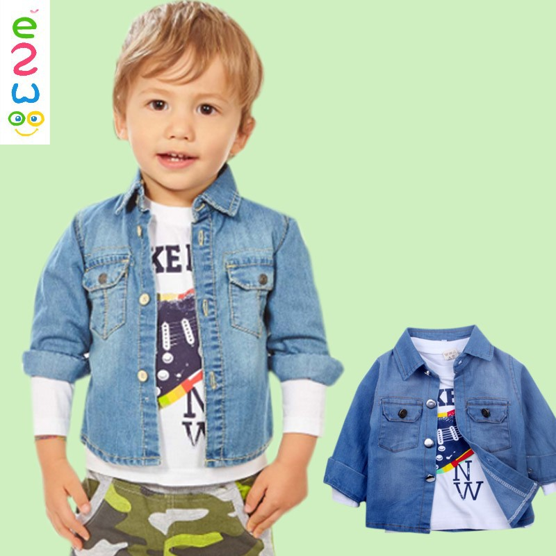 e1b3c069650 autumn baby jeans coats boys kids denim jacket children shirts long sleeve  British Pants 3pieces Sets