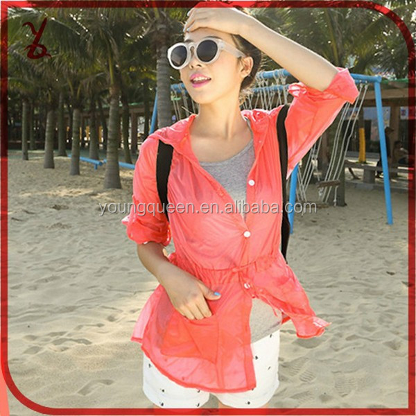 FSF1535 2015 summer new UV sun protection clothing beach jacket thin long-sleeved coat solid color loose
