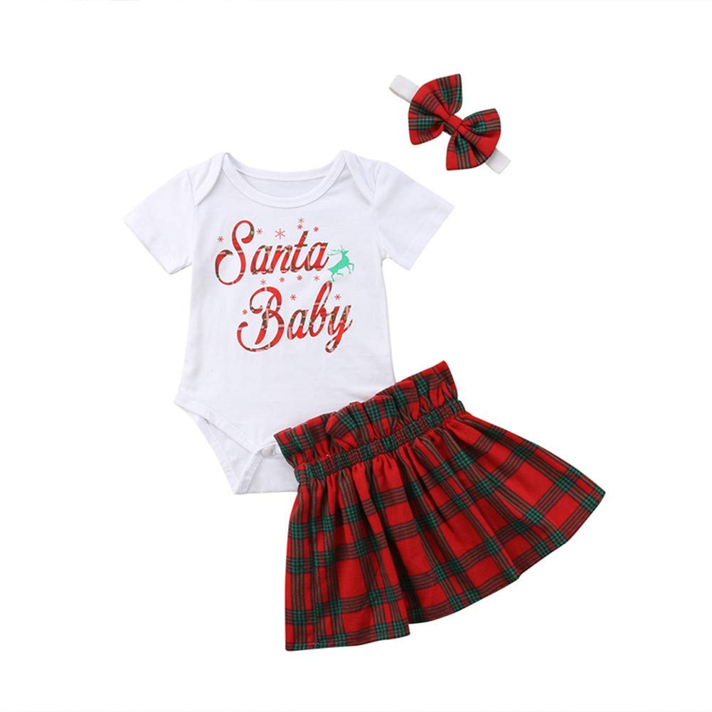 1a365ec9d Get Quotations · Newborn Infant Girls Christmas Outfit Clothes,Santa Baby  Bodysuit+Plaid Skirts Dress with Headbands