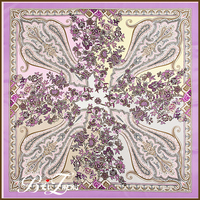 Most Beautiful Paisley Design Purple Color 100cm Hijab Twill Silk Scarf