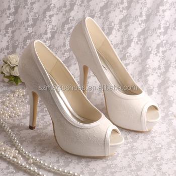 15 Colors)platform High Heels Open Toe Bride Shoes Cream Lace - Buy ... 648d340ab9b8