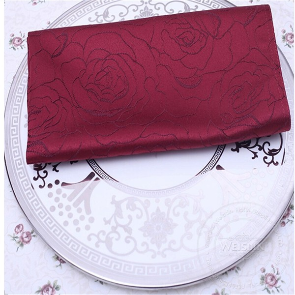Polyester cotton rose jacquard hotel table napkin