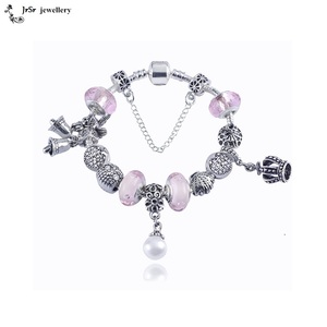 European Charm Bracelet Charms and Beads For Women and Girls Jewelry Pink First Day Of School
