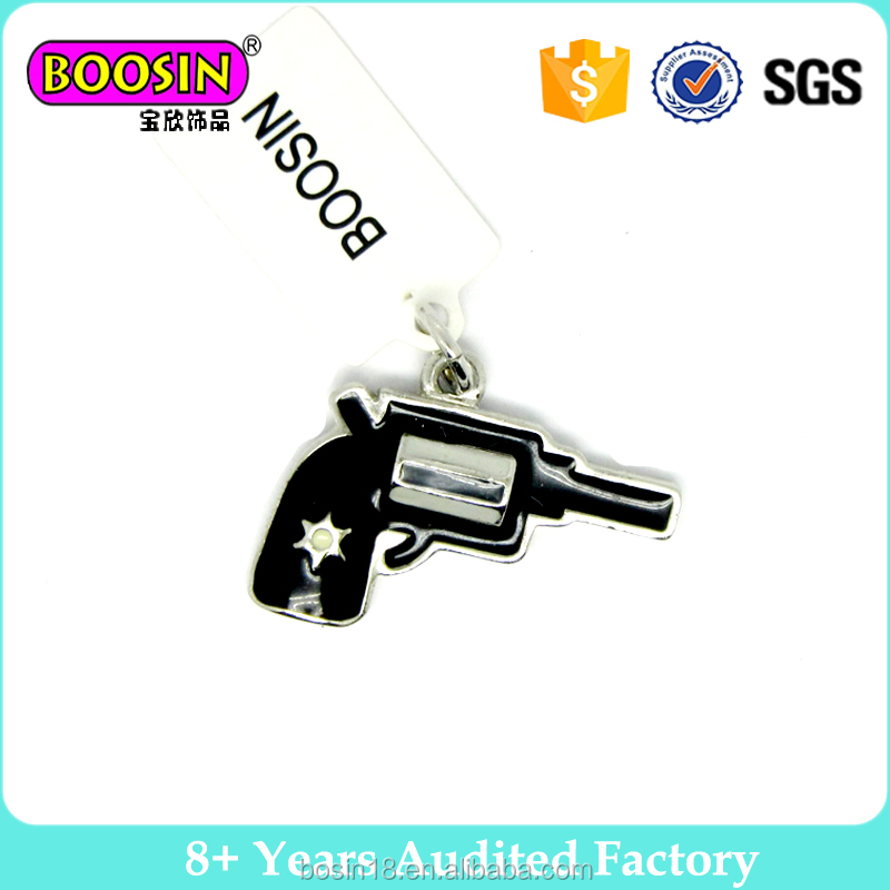 Boosin jewelry black enamel pendant toy gun shape charm for bracelet for decoration in bulk # 12560