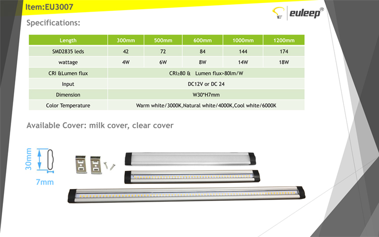 China wholesale led under cabinet lighting linkable 300/500/600/900/1000/1200mm retail packing
