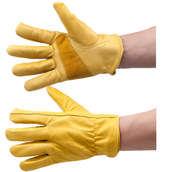GLOVEMAN Golden full cow grain leather with shirred elastic wrist driver gloves
