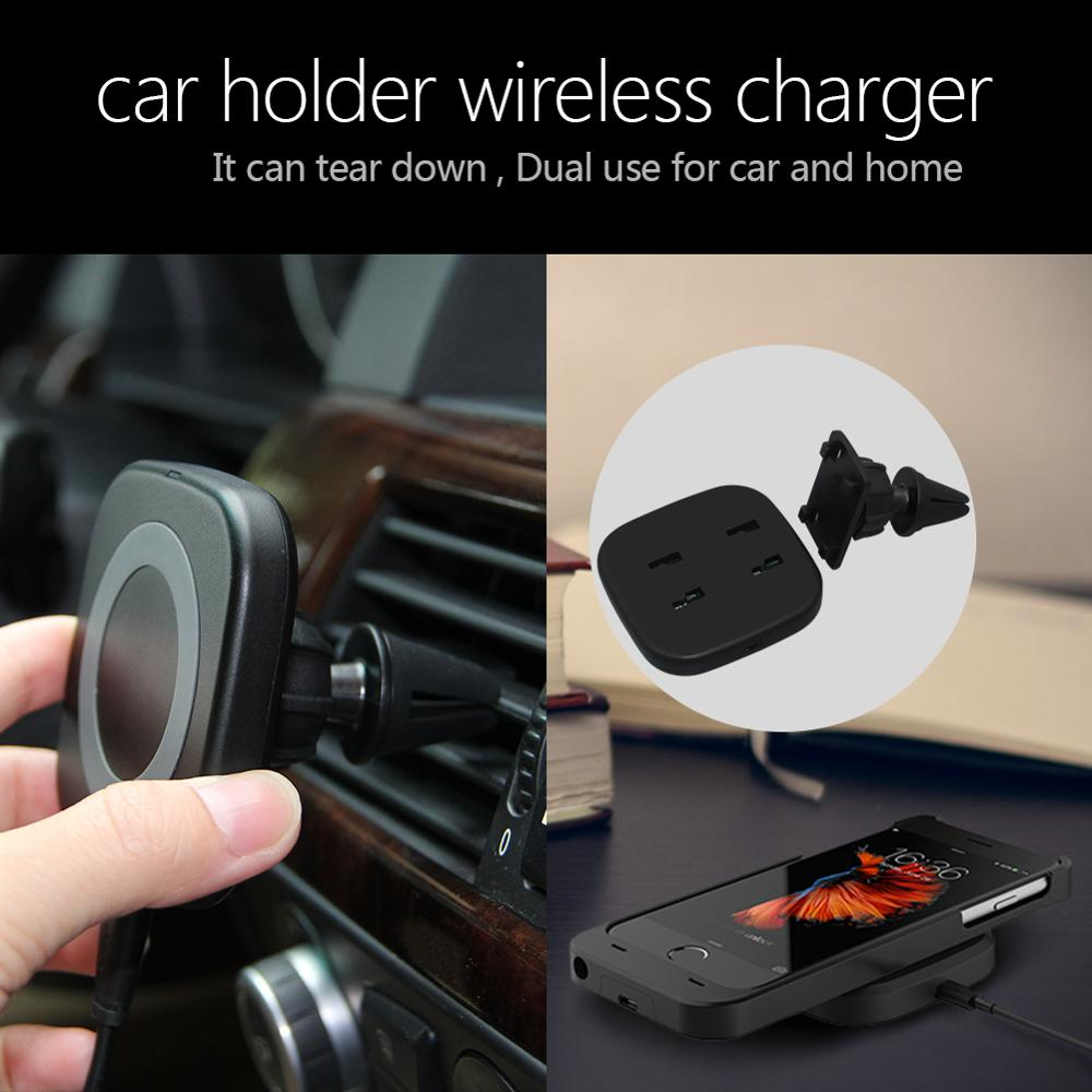 Factory Wholesales 5W Magnetic Qi wireless charger with car mount holder for iphone 8,8 plus and iphone X