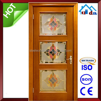 Superior Interior Wooden House Glass Kitchen Door Design Model